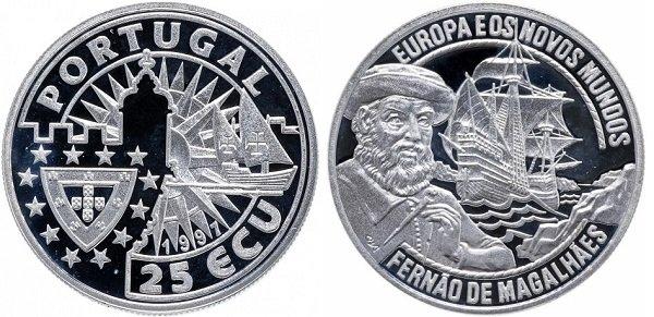 25 экю. Португалия. 1997 год. «Фернан Магеллан». Серебро