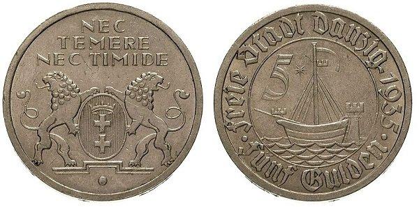 5 гульденов. «Вольный» город Данциг. 1935 год. Никель