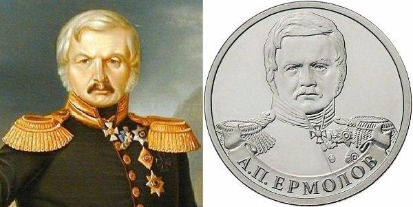 Генерал от инфантерии Ермолов на картине неизвестного художника 1843 г. и на реверсе памятной монеты