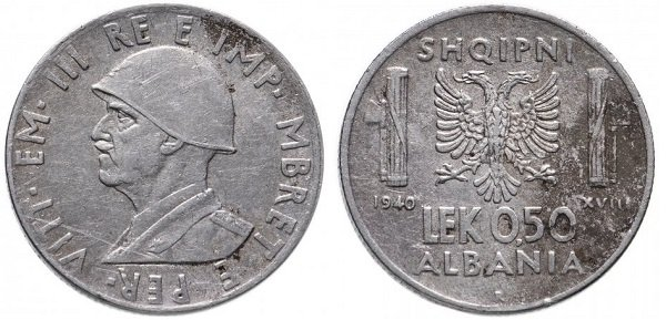 0,50 лека. Итальянская оккупация Албании. 1940 год. Нержавеющая сталь