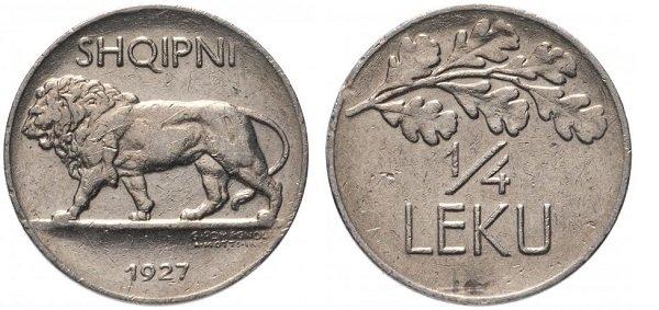 1\4 лека. 1927 год. Албанская Республика. Никель