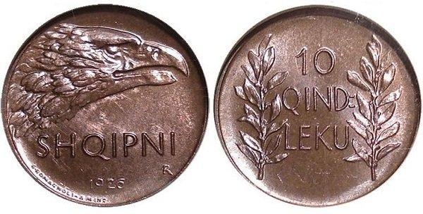10 киндар лека. Албанская Республика. 1926 год. Бронза