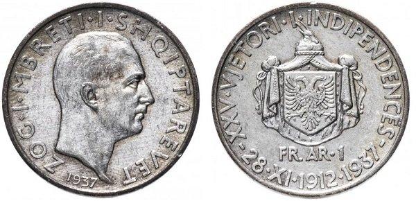 1 франг. «25 лет независимости». Королевство Албания. 1937 год. Серебро 835-й пробы, 5 г