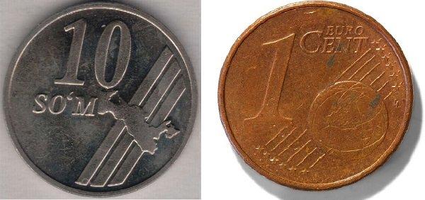 10 сумов и 1 евроцент. 2001 год