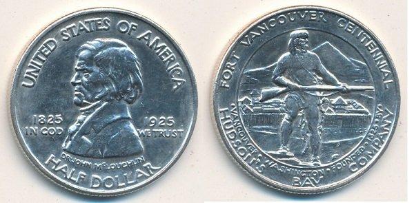 1\2 доллара в честь 100-летия форта Ванкувер. 1925 год. Серебро