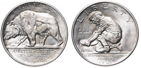 1\2 доллара. «Бриллиантовый юбилей Калифорнии». 1925 год. Серебро