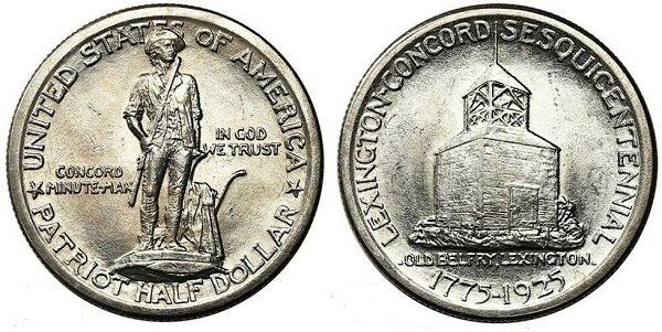 1\2 доллара в честь сражений при Лексингтоне и Конкорде. 1925 год. Серебро