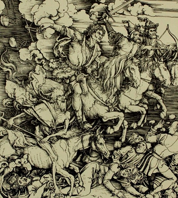 А. Дюрер. Четыре всадника Апокалипсиса. Гравюра на дереве. 1496-1498 гг.