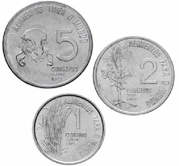 Бразилия. Набор монет ФАО для обращения номиналом 1, 2, 5 сентаво. 1975 год