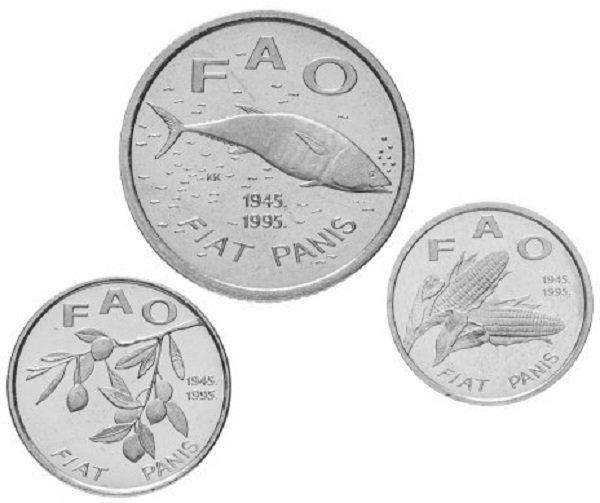 Хорватия. Набор монет ФАО для обращения номиналом 2 куны, 20 лип, 1 липа. 1995 год
