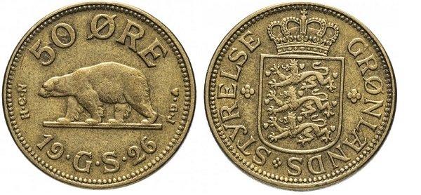 50 эре. Гренландия. 1926 год. Алюминиевая бронза