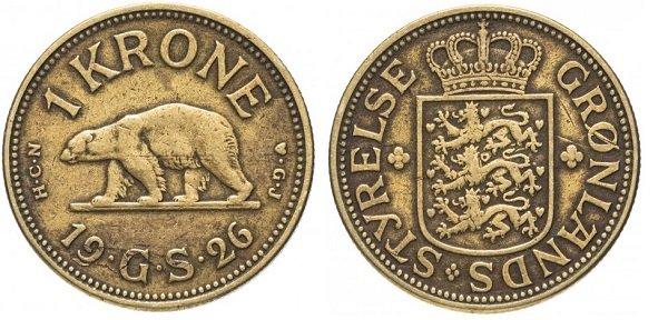 1 крона. Гренландия. 1926 год. Алюминиевая бронза