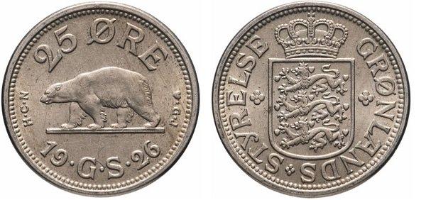 25 эре. Гренландия. 1926 год. Медно-никелевый сплав