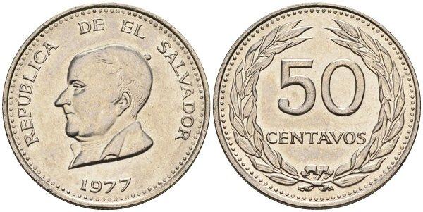 50 сентаво 1977 года, Сальвадор, никель