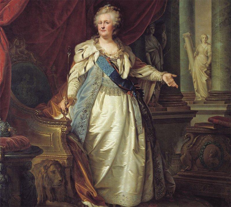 Фрагмент портрета императрицы Екатерины II (Иоганн Баптист Лампи Старший)