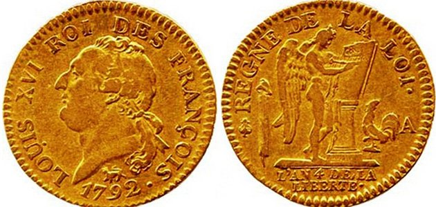 Первые «золотые ангелы»: 1 луидор Людовика XVI 1792 года