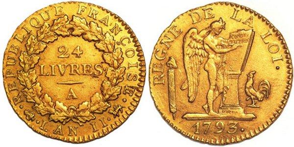 «Золотые ангелы»: 24 ливра после казни Людовика XVI 1793 года