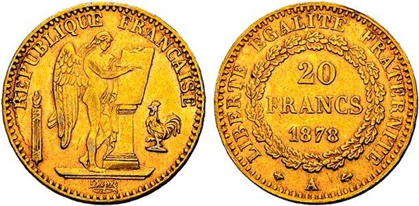 «Золотые ангелы»: 20 франков 1878 года