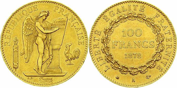 «Золотой ангел» 100 франков  (29,03 г чистого золота, проба 900)