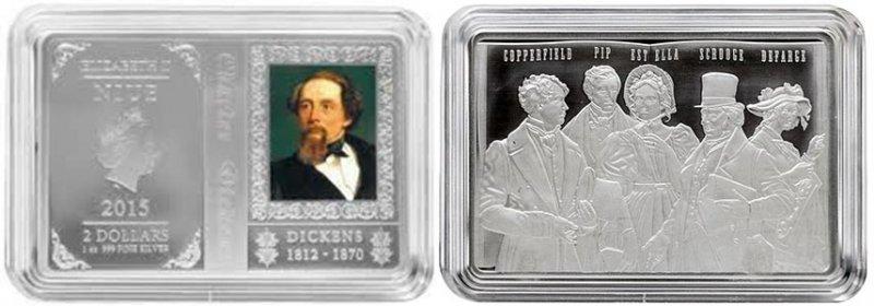 2 доллара «Charles Dickens», Ниуэ (Новая Зеландия), 2015 год