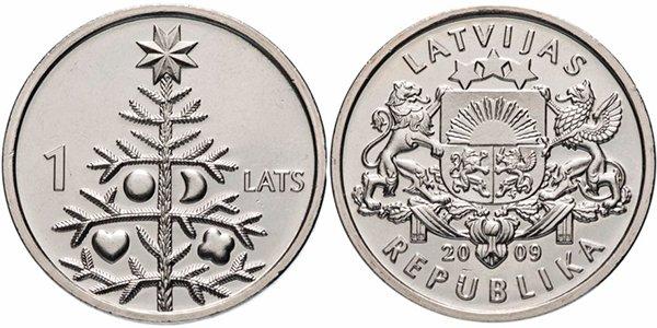 Монета номиналом 1 лат «Рождественская ель», Латвия, 2009 год