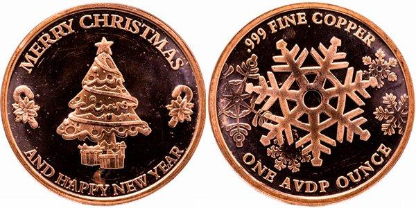 1 унция меди «С Рождеством и Новым годом. Рождественская ель», США, 2017 год