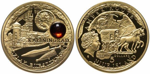 Золотая монета 5 долларов с вставкой из янтаря, Ниуэ, 2008 год