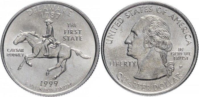 25 центов «Делавэр», США, 1999 год. Реверс украшен изображением Цезаря Родни на лошади