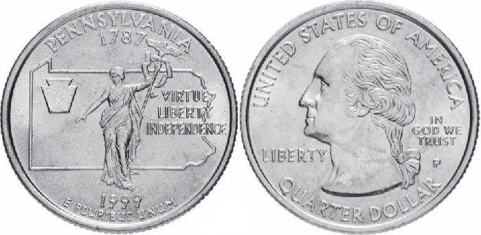 """25 центов «Пенсильвания», США, 1999 год. На реверсе изображена статуя «Содружество наций» на фоне географических контуров Пенсильвании, стилизованный замковый (краеугольный) камень. Справа отчеканен девиз штата """"Достоинство, Свобода, Независимость"""""""