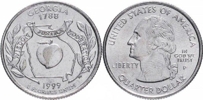 25 центов «Джорджия», США, 1999 год. На реверсе отчеканено изображение персика, ветвей виргинского дуба, контуры штата. Лента с надписью «Wisdom, Justice, Moderation» (Мудрость, Правосудие, Умеренность)