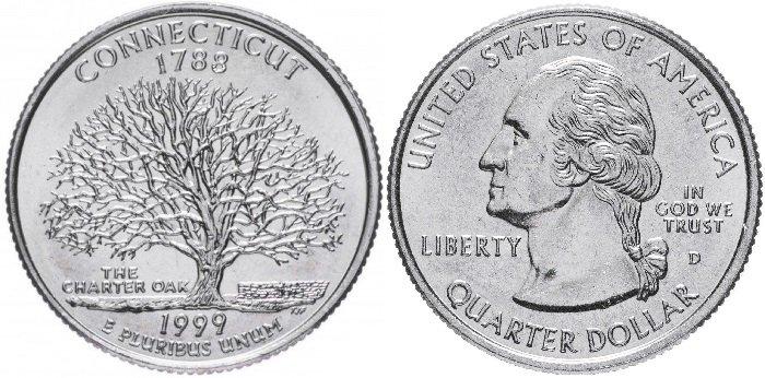25 центов «Коннектикут», США, 1999 год. Реверс: изображение Дуба Хартии