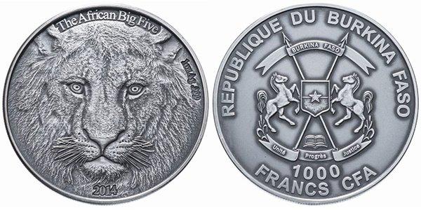 Буркина-Фасо 1000 франков 2014 года «Лев» (The Big African Five)