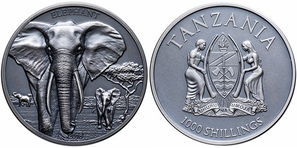 Танзания, 1000 шиллингов 2016 года «Слон»
