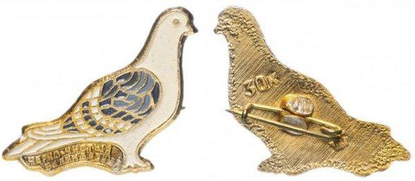 Значок СССР, 1976 год, черно-чистый белопоясный голубь