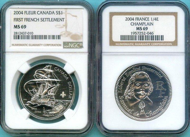 Пример монеты с обозначением превосходной степени сохранности - MS69