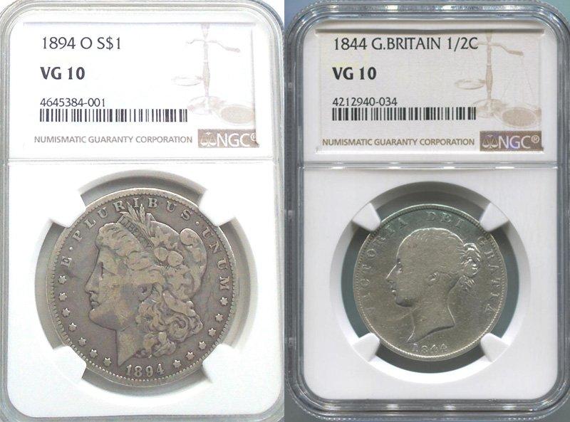 Пример разных монет, которым эксперты присвоили одинаковую степень сохранности (VG10)