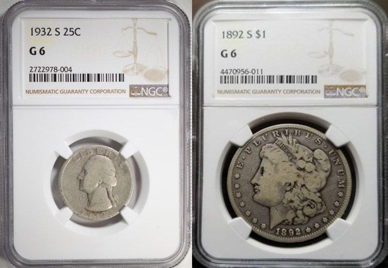Пример разных монет, которым эксперты присвоили одинаковую степень сохранности (G6)