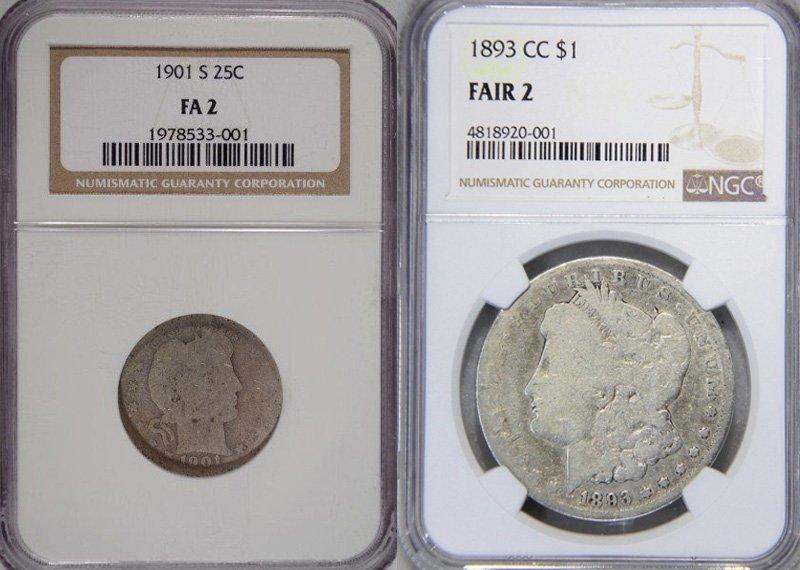 Пример разных монет, которым эксперты присвоили одинаковую степень сохранности (FA2)
