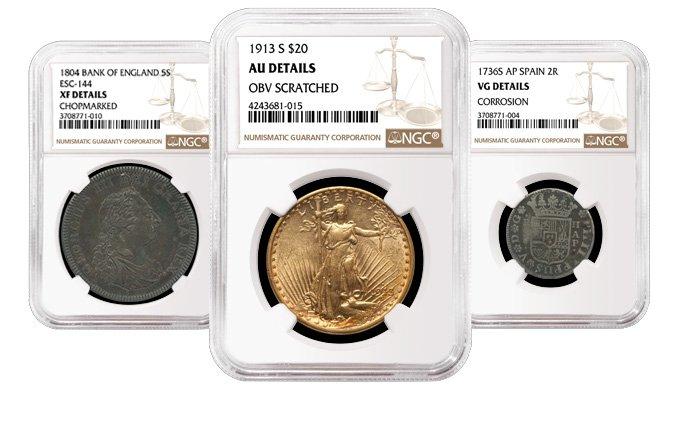 Пример монеты с повреждениями