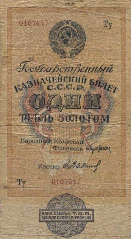 1 рубль золотом. СССР. 1928 год. Надпечатка ТНР 1933 год