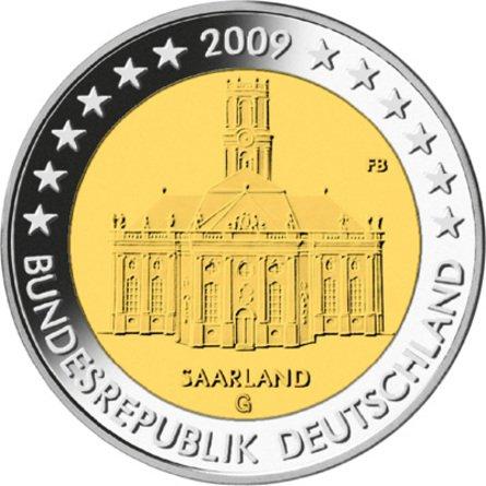 Четвёртая монета серии «Федеральные земли Германии». 2009 г. На монете изображена церковь Людвига в Саарбрюккене. SAARLAND