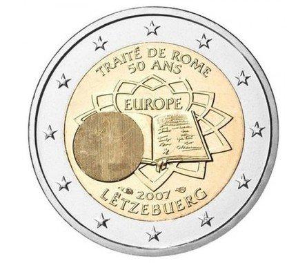 Люксембург. Надписи: TRAITÉ DE ROME 50 ANS, EUROPE, LËTZEBUERG. Слева добавлен скрытый портрет Герцога