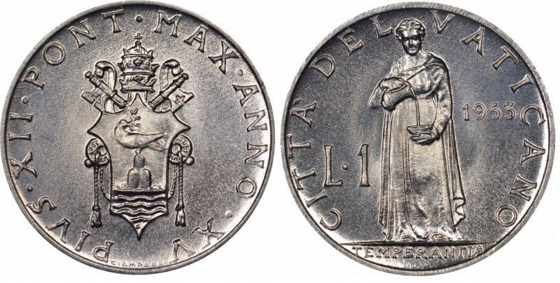 1 лира 1953 года