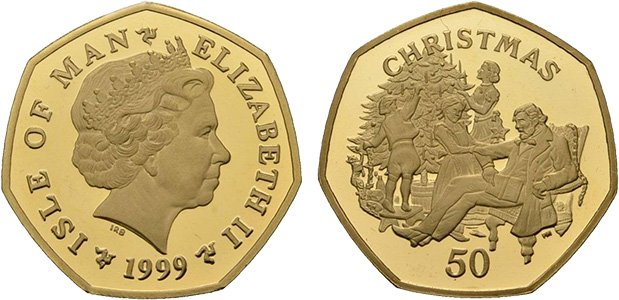 Одна из рождественских монет острова Мэн