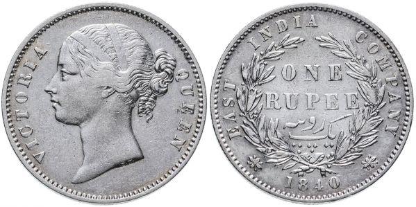 Индия, Ост-Индская компания, 1 рупия, 1840 год