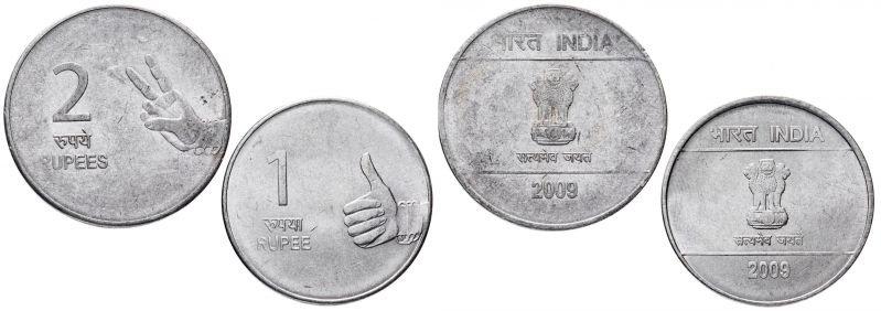 Монеты 1 и 2 рупии, Индия, 2009 год
