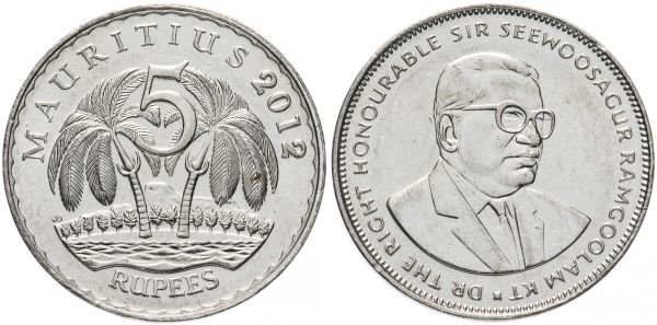 5 рупий, Маврикий, 2012 год