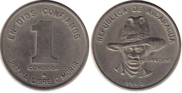 1 кордоба. 1980 год. Никарагуа. Медно-никелевый сплав