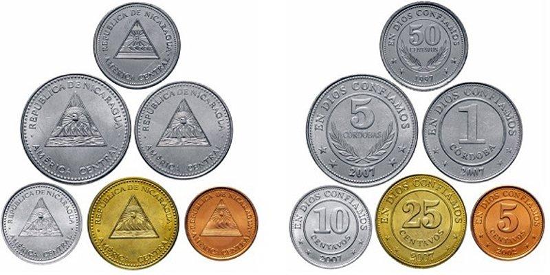Современные монеты регулярного обращения. Никарагуа