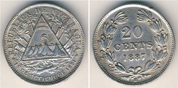 20 сентаво. 1887 год. Никарагуа. Серебро 800-й пробы, 5 г